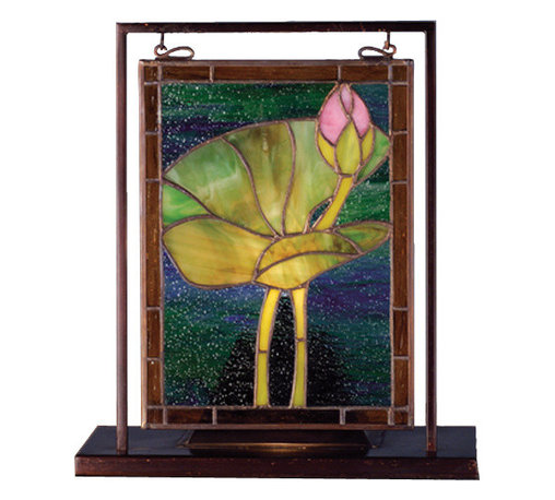 Meyda - 9.5 Inch W x 10.5 Inch H Waterlily Mini Windows - Color theme: Blue/green pink 59 amber
