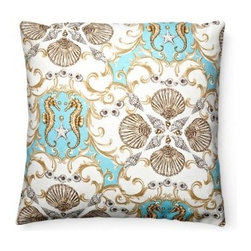 5 Surry Lane - Aqua Blue Seashell Seahorse Indoor Outdoor Pillow - Seashells by the seashore — what could be more poetic? Bring this charming pillow home to create vintage seaside resort appeal in chic shades of aqua and taupe. With pairs of seahorses, shells and a scalloped motif, all you'll need to complete the look is a little bit of sand and an ocean breeze.