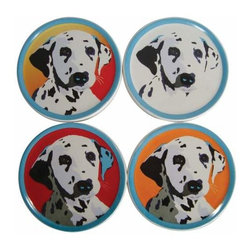 WL - 4 Inch Diameter Pop Art Inspired Dalmatian Coasters Set of 4 - This gorgeous 4 Inch Diameter Pop Art Inspired Dalmatian Coasters Set of 4 has the finest details and highest quality you will find anywhere! 4 Inch Diameter Pop Art Inspired Dalmatian Coasters Set of 4 is truly remarkable.