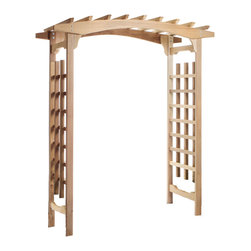 All Things Cedar - Cedar Garden Pagoda Arbor - Bold and inviting Ideal for Gardens, Entrances, Outdoor Weddings - DIMENSIONS : 71w x 36d x 87h (unassembled kit)