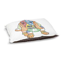 """DiaNoche Designs - Dog Pet Bed Fleece - Basset House - DiaNoche Designs works with artists from around the world to bring unique, designer products to decorate all aspects of your home.  Our artistic Pet Beds will be the talk of every guest to visit your home!  BARK! BARK! BARK!  MEOW...  Meow...  Reallly means, """"Hey everybody!  Look at my cool bed!""""  Our Pet Beds are topped with a snuggly fuzzy coral fleece and a durable underside material.  Machine Wash upon arrival for maximum softness.  MADE IN THE USA."""