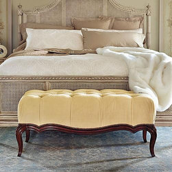 Frontgate - Catherine Tufted Bench - You'll want to sit on this muffin-top tufted bench because it looks so comfy.