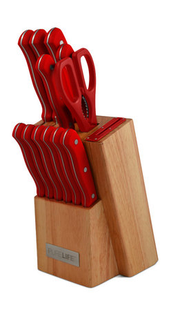 "Ragalta - 12 Pc. Knife Block Set Red - Pure Life 12pc Knife Block Set Bakelite Handles Red.  1 - 8"" Chef 2.5mm 1 - 8"" Slicer 2.0mm 1 - 7"" Santoku 2.mm 1 - 5"" Utility 1.5mm 1 - 3.5"" Paring 1.5mm 6 - 4.5"" Steak 1.5mm 1 - Shears 1 - Block w/ Sharpener Built In."