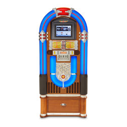 Crosley - Full Size Tablet Jukebox - The iPad Jukebox is a blast from the past that rocks like the present. Think that's a lot to handle? Well it's not -- if you love great sound and killer atmospherics! This fantastic jukebox offers retro ambience, with glowing neon-like lights and a classic design. It's compatible with iPads, iPhones, iPods, and other MP3 players, so you can rock to your favorite tunes whenever you want. This jukebox also features a built-in AM/FM tuner, CD player, and auxiliary input. And there's a full-function remote. Everybody's rockin tonight!