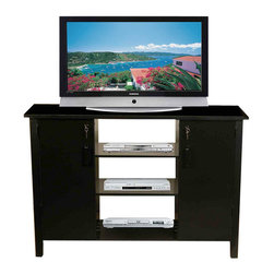 Venture Horizon - Multi-Media Audio Video Cabinet - Black - Our locking, double wide cabinets offer secure storage (in cabinet and on pocket doors) for expensive DVD's, CD's Video Tapes and more. It is also a welcome deterrent to curious young children.