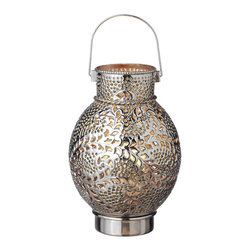 "Everybody's Ayurveda - Candle Lantern with Large Silver Star Pattern Drum with Clear Glass - Silver Large Star Pattern Drum Candle Lantern with Clear Glass. Iron and Glass. Made in India. 9"" Wide x 9"" Deep x 14"" Tall. Shiny silver finish with star pattern and Clear glass beads."