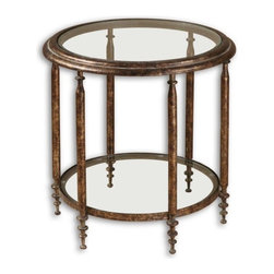 Uttermost - Uttermost Leilani Accent Table - Antique gold mottled finish with tarnished brown distressing and a gray glaze, with clear glass top and shelf.