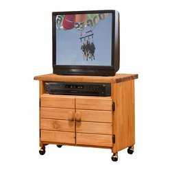 Chelsea Home - 2-Door Wooden TV Cart - Rustic style. Storage compartment for storing entertainment items. Constructed for strength and durability. Warranty: One year. Made from solid pine wood. Ginger stain finish. Made in USA. No assembly required. 30 in. W x 16 in. D x 27 in. H (55 lbs.)