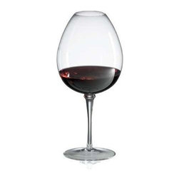 Ravenscroft Crystal - Crystal Mature Red Wine Glass Set - With a large bowl and a very narrow chimney, this innovative wine glass will be a dynamic addition to any wine cellar or winery tasting room. Designed to celebrate the delicate bouquet of mature red wines along with the robust flavors, the glasses are crafted of lead free crystal and are sold in a set of two. Set of 4. As featured in Wine & Food and In Style Magazine. Capacity: 220 oz.. 8.5 in. H. Best with Mature Reds: Barolo, Bordeaux and Burgundy varietalsA wide bowl and narrow chimney of the Ravenscroft Amplifier Mature Red Wine glass amplifies the bouquet of mature red wine. The tight narrow opening and expansive bowl will expertly amplify and concentrate the delicate perfume of mature red wines. The intensity delivered by this bowl is unmatched by any other design. This brilliant, lead-free European Ravenscroft Crystal Amplifier Mature Red Wine Glass will intensify and focus the bouquet of developed red wines making your experience breathtakingly intense. No glass is a more effective delivery vehicle for mature red wines. Hand-made in Europe.