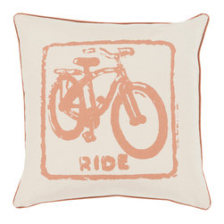 """Surya - Surya BKB-016 Pillow, 18"""" x 18"""", Poly Fiber Filler - Let your space ride away in striking style with the inclusion of this perfect pillow. Hand made in India of 100% cotton, the bold bike image and flawless color palette, this exquisite piece effortlessly embodies a unique sense of trend worthy design from room to room within any home decor."""