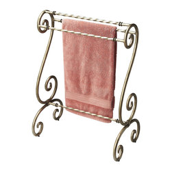 Butler Specialty - Butler Blanket Stand - This distinctive blanket stand boasts a curvaceous, antique silver-finished metal frame with sculpted horizontal rails for a decorative way to hang quilts, comforters, bedspreads and blankets.