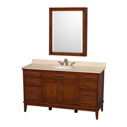 "Wyndham Collection - Hatton 60"" Light Chestnut Single Vanity w/ Ivory Marble Top & Oval Sink - Bring a feeling of texture and depth to your bath with the gorgeous Hatton vanity series - hand finished in warm shades of Dark or Light Chestnut, with brushed chrome or optional antique bronze accents. A contemporary classic for the most discerning of customers. Available in multiple sizes and finishes."