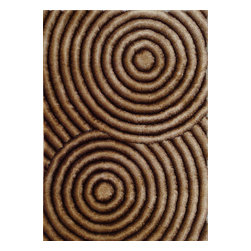 Rug - ~5 ft. x 7 ft. 3-D Gold Brown Shaggy Plush Living Room Hand-tufted Area Rug - 3D SHAG COLLECTION