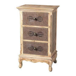 Sterling Industries - Linen Covered Chest of Drawers - This Sterling linen covered chest of drawers is made of wood/dark linen material. It brings your home a touch of elegance with traditional design. French country styling. This chest of drawers will be a staple in your child's bedroom, master bedroom, or guest room for years to come. Drawers feature metal runners and safety stops, allowing you to use this in even the busiest of households. Comes with washed pine finish.