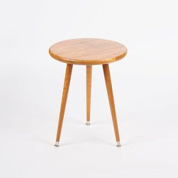 Mid-Century Round Side Table - Wheat - Nothing spruces up an otherwise plain room like a touch of mid-century design. Handmade in Washington from solid wood, this mid-century–inspired table is made-to-order at a great value.