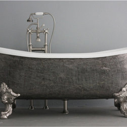 None - 'The Bridlington' from Penhaglion 73-inch Cast Iron Bateau Bathtub - This beautiful slight double slipper bateau clawfoot bathtub is one of the roomiest tubs out there. Great for either one or two bathers, The Bridlington has lots of room to soak.