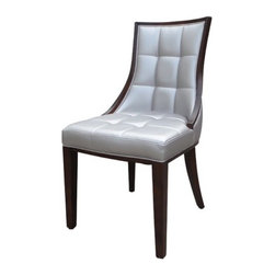 International Design - Barrel Side Chair (Set of 2) - Complete your dining room with a set of fine crafted dining chairs from International Designs. Featuring beautiful hand stitched pearlized vinyl urethane top skin and solid woods this collection of chairs is plush, sturdy and elegant. Features: -Set of 2 chairs.-Beautiful front design.-Frame construction: Solid beech wood.-Seat and back construction: Hand stitched pearlized vinyl urethane top skin.-Frame finish: Dark brown.-Collection: Barrel.-Distressed: No.Dimensions: -Overall Product Weight: 20 lbs.