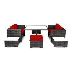 "Reef Rattan - Reef Rattan Camina 7 Pc Cube Love Seat Dining Set - Grey Rattan / Red Cushions - Reef Rattan Camina 7 Pc Cube Love Seat Dining Set - Grey Rattan / Red Cushions. This patio set is made from all-weather resin wicker and produced to fulfill your needs for high quality. The resin wicker in this patio set won't fade, shrink, lose its strength, or snap. UV resistant and water resistant, this patio set is durable and easy to maintain. A rust-free powder-coated aluminum frame provides strength to withstand years of use. Sunbrella fabrics on patio furniture lends you the sophistication of a five star hotel, right in your outdoor living space, featuring industry leading Sunbrella fabrics. Designed to reflect that ultra-chic look, and with superior resistance to the elements in a variety of climates, the series stands for comfort, class, and constancy. Recreating the poolside high end feel of an upmarket hotel for outdoor living in a residence or commercial space is easy with this patio furniture. After all, you want a set of patio furniture that's going to look great, and do so for the long-term. The canvas-like fabrics which are designed by Sunbrella utilize the latest synthetic fiber technology are engineered to resist stains and UV fading. This is patio furniture that is made to endure, along with the classic look they represent. When you're creating a comfortable and stylish outdoor room, you're looking for the best quality at a price that makes sense. Resin wicker looks like natural wicker but is made of synthetic polyethylene fiber. Resin wicker is durable & easy to maintain and resistant against the elements. UV Resistant Wicker. Welded aluminum frame is nearly in-destructible and rust free. Stain resistant sunbrella cushions are double-stitched for strength and are fully machine washable. Removable covers made with commercial grade zippers. Tables include tempered glass top. 5 year warranty on this product. Table with Glass: W 49"" D 52"" H 30"", Love Seats (2): W 57"" D 30"" H 30"", Ottoman (2): W 24"" D 24"" H 13"""
