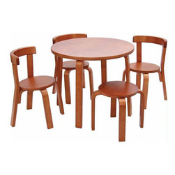 Svan - Play with Me Kids' 5 Piece Table and Chair Set - Mom or dad can join in on the fun with the Svan Play With Me Toddler Table and Chairs set. Designed to promote child/parent interaction, this set includes a table, three chairs and a stool sturdy enough to hold mom or dad so that they can play along too. Features: -Stool is a great feature as it allows a parent to come down to the child's level for play.-Sturdy pieces are designed for use from generation to generation.-Classic Scandinavian design will fit into any home.-Set offers a durable and family-friendly table for children from two years of age.-Weight for each piece is 250 lbs.-Set includes a table, three chairs and a stool.-Collection: Svan.-Distressed: No.-Powder Coated Finish: No.-Gloss Finish: Yes.-Table Top Material: Wood.-Table Base Material: Wood.-Hand-Painted: No.-Number of Items Included: 5.-Pieces Included: 1 Table, 1 Stool, 3 Chairs.-Non Toxic: Yes.-Weather Resistant: No.-Water Resistant: No.-Table Design: Childrens Furniture.-Table Shape: Round.-Wheels Included: No.-Rounded Corners: Yes.-Table Legs: Yes -Number of Legs: 4.-Leg Material: Wood.-Removable Legs: No.-Leg Glides: No..-Seating Included: Yes -Seating Type: Chairs,Stool.-Number of Chairs Included: 3.-Number of Stools Included: 1.-Attached Seating: No.-Seating Material: Wood.-Seating Cushion Included: No.-Number of Chair Legs: 4.-Removable Chair Legs: No.-Chair Leg Glides: No.-Nested Seating: Yes.-Seating Storage: No..-Table Top Organization: No.-Drawers Included: No.-Shelving Included: No.-Storage Features: No.-Cupholder: No.-Umbrella Included: No.-Chalkboard Included: No.-Whiteboard Included: No.-Easel Included: No.-Collapsible: No.-Minimum Age: 2.-Maximum Age: 7.-Total Seating Capacity: 4.-Outdoor Use: No.-Swatch Available: No.-Commercial Use: No.-Recycled Content: No.-Eco-Friendly: No.-Product Care: Wipe with a damp cloth or sponge and dry thouroughly.Specifications: -ASTM Certified: Yes.-CPSIA or CPSC Compliant: Yes.-EPP Compliant