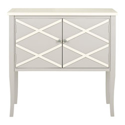 Safavieh - Salem Sideboard - The softly turned legs of the wide, double-door Salem sideboard add a graceful touch to this feminine piece. Crafted of grey finished poplar, Salem's white x-details keep this casual and classic piece from being frilly or boring.