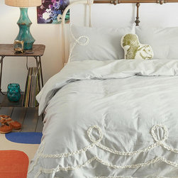 Plum & Bow Ruffle-Loop Duvet Cover - I adore this Plum & Bow duvet cover from Urban Outfitters. I love its feminine detailing and coziness, and the color could work in either winter or summer.
