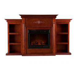Holly & Martin - Holly & Martin Fredricksburg Electric Fireplace w/ Bookcases-Espresso, Mahogany, - For the person who loves to curl up with a good book by the fire, this classic mahogany fireplace accommodates perfectly. On each side there is a bookshelf to display your favorite classic books. The mantel itself is adorned with tall slender fluted columns on either side of the firebox, traditional crown molding, and a symmetrical medallion applique. Portability and ease of assembly are just two of the reasons why our fireplace mantels are perfect for your home. Requiring no electrician or contractor for installation allows instant remodeling without the usual mess or expense. In addition to your living room or bedroom, try moving this fireplace to your dining room for romantic dinners or complement your media room with a ventless fireplace below your flat screen television. * Use this great functional fireplace to make your home a more welcoming environment.