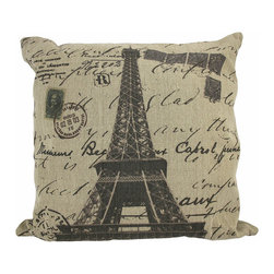 Paris Eiffel Tower Postcard Themed Tan Burlap Throw Pillow 16 In. - Add a French accent to your worldly home decor with this decorative throw pillow. It features the Eiffel tower in the center with stamps, postmarks, and handwritten notes completing the postcard theme. The pillow measures 16 inches tall, 16 inches wide, has a removable burlap cover and 100% cotton padding inside. This pillow looks great on beds, chairs, and couches anywhere in your home, and the neutral colors are sure to complement almost any decor.