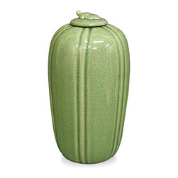 China Furniture and Arts - Celadon Porcelain Jar - With elegant and graceful silhouette, this tall jar makes a great accent piece for any contemporary setting. Crafted of porcelain with hand-glazed celadon green crackled finish. Display it on a side table or as a centerpiece where it is sure to be admired for its beauty. Imported.
