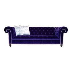 Dark Blue Velvet Chesterfield Sofa Modern and Contemporary Sofas Button tufted n -