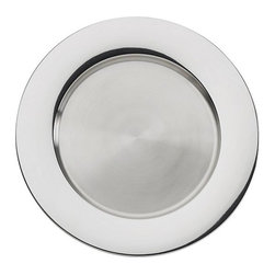 Stainless Steel Charger - This gleaming charger is a tabletop statement in contemporary elegance. Charger plates in hand-pressed stainless steel add brilliance and sophistication to place settings.