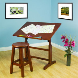 Studio Designs - Creative Table and Stool Set - Includes table and stool. Adjustable Angle Work Surface: 36 in. W x 24 in. D. Adjustable Height from 28.5 in. to 35 in. High. Top Angle Adjustment up to 90 Degrees. 24 in. Slide Up Pencil Ledge. Solid Wood Construction for Stability. (4)Floor Levelers Adjust to Uneven Surfaces. Stool Overall Dimensions: 13 in. W x 13 in. D x 23 in. H. 22 in. Tall Stool Included. Overall Dimensions: 36 in. W x 24 in. D x 28.5 in. -46 in. H