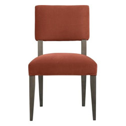 Cody Side Chair - Cody receives your guests with all the generous proportions and comfort of a fully upholstered dining chair, but keeps the room light and airy with its open back design and minimal lines. The look is soft and modern: a tight-cushioned but very padded seat and contoured back made for lingering, and elegant tapering solid hardwood legs stained a warm grey. The fabric couldn't be more suited to dining in plush cotton velvet with self-welted detailing.