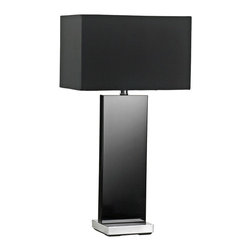 """Cyan Design - Contemporary Vista Black Crystal Table Lamp - The Vista table lamp features a slab of black crystal that gives this piece a clean modern look. The black shade directs light downward and slab appears to shimmer on top half. Rectangular shade give this table lamp clean crisp lines. A distinctive contemporary design for modern interiors. Black crystal table lamp. Slab design sits on square base. Black satin shade with white liner. Dimmer switch. Takes one maximum 100 watt or equivalent bulb (not included). 26 3/4"""" high. Shade is 14"""" wide 9"""" long and 9"""" high.  Black crystal table lamp.  Slab design sits on square base.  Black satin shade with white liner.  Dimmer switch.  Takes one maximum 100 watt or equivalent bulb (not included).  26 3/4"""" high.  Shade is 14"""" wide 9"""" long and 9"""" high."""