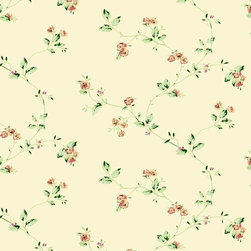 Wallpaper Worldwide - California - Climbing Rose Wallpaper, Beige, Green, Red - Material: Paper Backed. PVC.