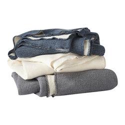 Coyuchi - Coyuchi Organic Cozy Cotton Blanket , White W/Ivory, King - Cozy Organic Cotton Blanket