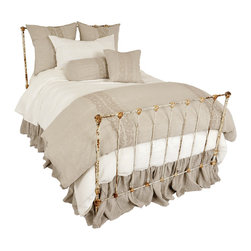 Pom Pom at Home Allegra - Organic White - King Duvet - Broad stripes of tone-on-tone floral scrollwork are embroidered vertically from top to bottom of the luxurious Allegra Duvet.  The bands of needlework add one more hint of tradition to the convenience of a duvet with the slight, lovely variegations of traditional weaving.  Woven from 100% certified-organic natural linen for a truly old-world look and feel, the soft embroidered duvet is available both in snowy white and in a natural flax tone.