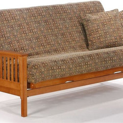 Night & Day Furniture - Wood Futon Frame In Honey Oak Finish w Slat S - Finish: Standard Twin/WhiteHoney Oak finish. 100% Malaysian Rubberwood construction. Available in the following sizes: Twin Lounger, Loveseat Lounger, Full Bifold, and Queen Bifold. Available with optional storage drawers. Full or Queen Deluxe Frame features Springwood sprung slats crowned upward to give you the full benefit of flexible support and comfort. End Table, Coffee Table, Futon Chair and Mattress sold seperatelyDimensions:. Arm Set: 31 in. W x 38 in. D x 5 in. H. Twin Lounger: 37 in. W x 81 1/8 in. L x 33 1/4 in. H. Loveseat Lounger: 37 1/2 in. W x 66 in. L x 34 5/8 in. H. Full Bifold: 37 1/2 in. W x 86 in. L x 34 5/8 in. H. Queen Bifold: 38 5/8 in. W x 86 1/2 in. L x 36 7/8 in. HThe Winchester, with its solid steam-bent arm rest, is a very appealing style and is one of our more popular models. Our Standard Collection wood futon frames are built to last. These prime quality frames are made from the finest plantation grown materials and are constructed with traditional woodworking good sense. A broad range of products in a variety of handsome finishes makes the Standard Collection a smart choice for your home. All Standard Collection items come with a limited 10 year warranty. SHOE FITTINGST BRONZE Operating System makes this futon quick to assemble and easy to use.