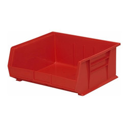 "Akro-Mils - Red Stackable Storage Bins, 7""- Set of 6 - AkroBins optimize your storage space. Control inventories, shorten assembly times and minimize parts handling. Heavy-duty polypropylene bins hang from Akro-Mils racks, panels, rails, and carts; securely stack atop each other and sit on shelving. AkroBins are unaffected by weak acids and alkalis. Sturdy, one-piece construction is water, rust and corrosion proof and guaranteed not to break. Autoclavable up to 250Degrees F."