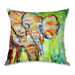 DiaNoche Designs - Pillow Linen - Karen Tarlton Wild Elephant - Add a little texture and style to your decor with our Woven Linen throw pillows. The material has a smooth boxy weave and each pillow is machine loomed, then printed and sewn in the USA.  100% smooth poly with cushy supportive pillow insert with a hidden zip closure. Dye Sublimation printing adheres the ink to the material for long life and durability. Double Sided Print, machine wash upon arrival for maximum softness. Product may vary slightly from image.