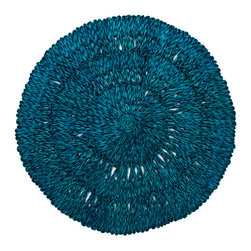 Straw Loop Round Placemat - Teal - Building a stunning tablescape begins with the right linens and placemats. The Juliska Straw Loop Round Placemat in teal is the ideal starting point for an eyecatching table. Begin with a pop of luscious teal to set your entertaining finery atop and build your dinner party up from there.