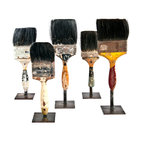 Salvatecture Studio - Vintage Paint Brushes on Stands, Set of 5 - This set of vintage brushes represents a universal symbol of hard work and home pride. Once the tools of creating canvases for rooms and halls, each unique brush is now a reclaimed artifact. Mounted on iron stands, they can be shown as a collection or split up for different rooms in your home.