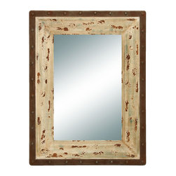 Benzara - Glass Style Mirror with Rustic Wood Frame - This looking glass style mirror is just what you are looking for to complete your foyer or hallway decoration. The mirror is simple and looks as if it were hand made a hundred years ago. The inner frame is made in an antique style with chipped paint blemishes to complete the rustic look.