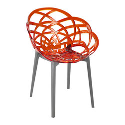 PAPATYA - PAPATYA FLORA ARMCHAIR, Set of 2, Seat Transparent Red W/ Anthracite Base - Flora is a stackable armchair with base in polypropylene and the seat in polycarbonate.Combination of the two material and fashionable colours makes it a perfect formula which adapts to every functional and aesthetic need and fit in any habitat. Anti UV stabilized. Suitable for indoor and outdoor use.  Priced as Set of 2