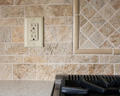 Green is As Traditional As You Feel - Backsplash has been created with FloridaTile Quartez tiles in the Cornerstone color.  Picture frame detail behind stove sets off that area and provides an extra design element.