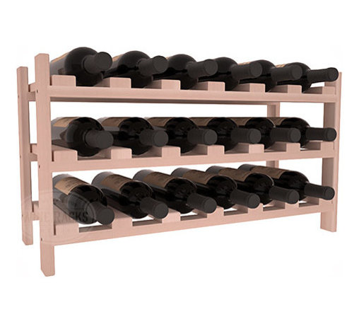 18 Bottle Stackable Wine Rack in Redwood with White Wash Stain - Expansion to the next level! Stack these 18 bottle kits as high as the ceiling or place a single one on a counter top. Designed with emphasis on function and flexibility, these DIY wine racks are perfect for young collections and expert connoisseurs.