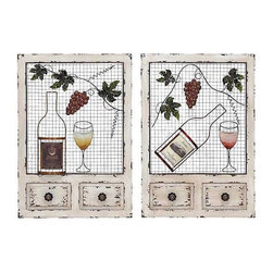 UMA - Vineyard Cottage Wood Panels Set of 2 - Two wall grilles done in cottage style, each feature a realistic bottle of wine, vines, grapes and wine glass.