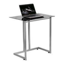 Flash Furniture - Flash Furniture Black Tempered Glass Computer Desk - NAN-2905-GG - The simple designed glass desk attracts the buyer who needs something simple yet modern and elegant. The compact sized desk is perfect for small spaces when the desk is to be used for writing, reading, homework and laptop usage. [NAN-2905-GG]
