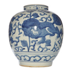 Blue and White Hand Painted Porcelain Ginger Jar - Our hand painted and hand glazed porcelain ginger jar celebrates the timeless tradition of blue and white porcelain ware.