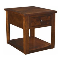 Hammary Nuance Rectangular Drawer End Table - Simple and durable, the Hammary Nuance Rectangular Drawer End Table is a great choice for any contemporary home. Crafted from select wood products and veneers, this end table has a mid-tone cherry finish and features one drawer and a lower fixed shelf for display.About Hammary Furniture CompanyHammary Furniture Company was started in 1943 by furniture craftsman, Hamilton Bruce. The name Hammary is a combination of Hamilton and Mary (Hamilton's wife's name). Hammary is now a division of La-Z-Boy Incorporated and they specialize in providing quality home furniture for today's modern families and homes. Hammary offers a variety of occasional table styles, and other furniture for home office, casual dining, and bedroom in all shapes, sizes, and materials.