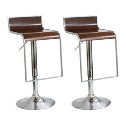 New Buffalo Corp. - Amerihome 2-Piece Wood Finish Bar Stool Set - Add a bit of sophistication to your kitchen, bar, game room, basement, or shop with the Amerihome 2-Piece Bent Wood Bar Stool Set with a dark wood finish. Sleek silhouettes and polished mirror like chrome bases give this bar stool set a clean, modern, loft-like style. The Amerihome 2-Piece Adjustable height Wood Finish Bar Stool Set offers a generous 14.25 inch wide by 16.5 in. deep seat, and built in footrests, making this bar stool comfortable for your family and guests to sit back and enjoy the company. The Adjustable seat height of 23 to 31 inches makes these bar stools comfortable for kids and adults.